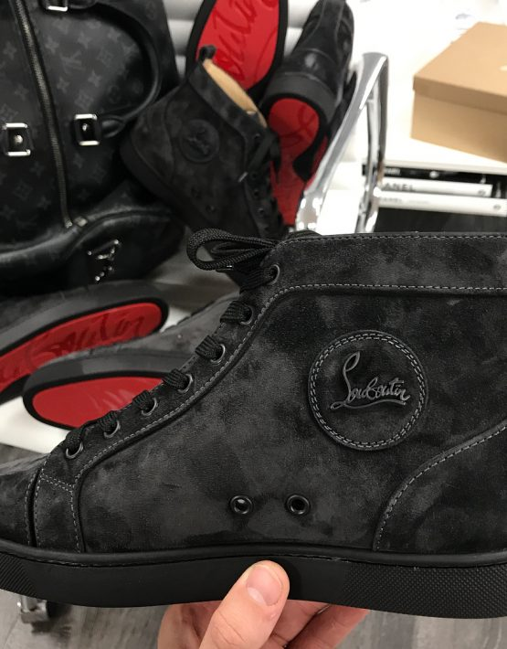 new arrival edcb1 798a7 LOUBOUTIN HIGH TOP BLACK SUEDE