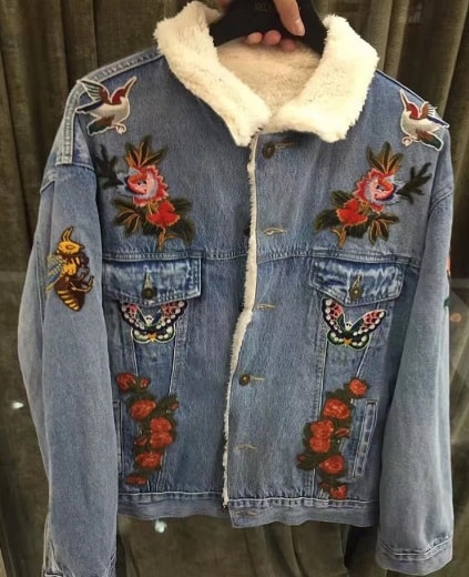 64dff61a4ed0 GUCCI DENIM JACKET FLOWERS Jackets