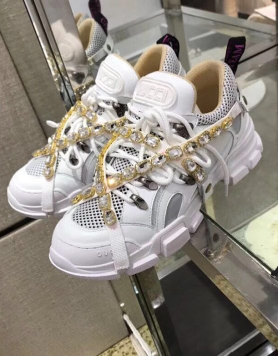 60f06cfe09c GUCCI REMOVABLE CRYSTALS FLASHTREK SNEAKERS WHITE ...