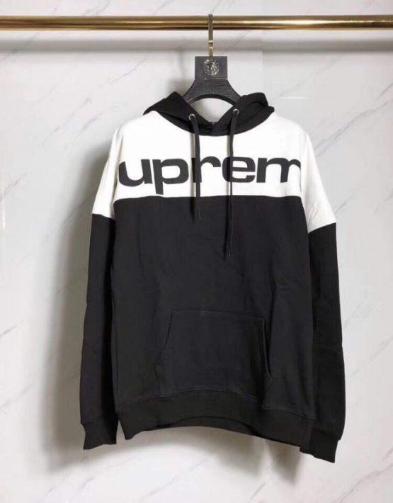 black and white supreme hoodie